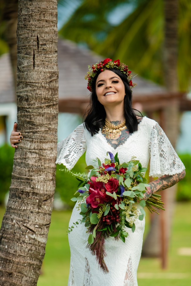 BHLDN Me on wedding day in jamaica with my hubby