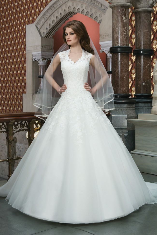 Justin Alexander Lace Ball Gown with Queen Anne Neckline