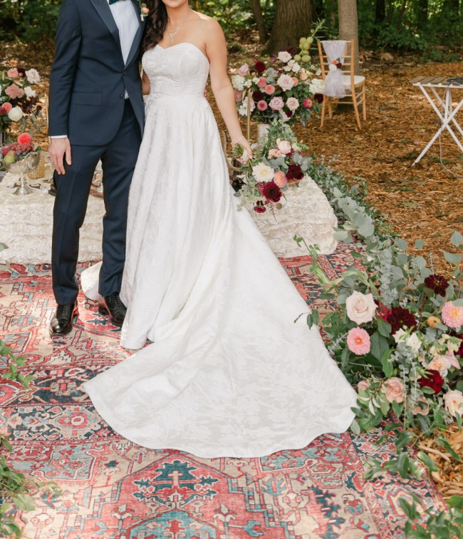 Kate McDonald Hughes Gown modified with sweetheart neckline