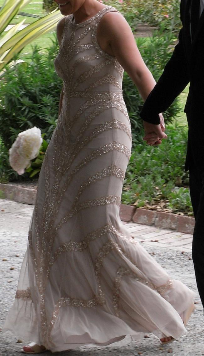 Rachel Gilbert Sequin & Tulle Vintage Full Length Gown