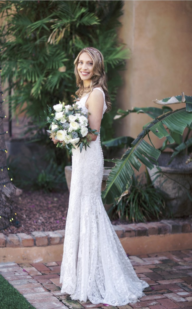 Oleg Cassini Lace trumpet gown