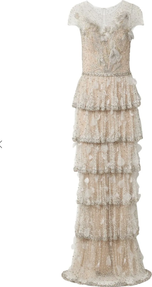 Marchesa Tiered embellished tulle gown