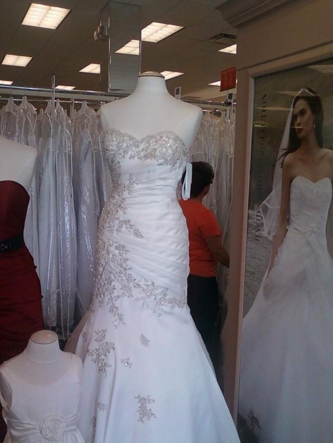David's Bridal David's Bridal White Satin Trumpet Wedding Dress w