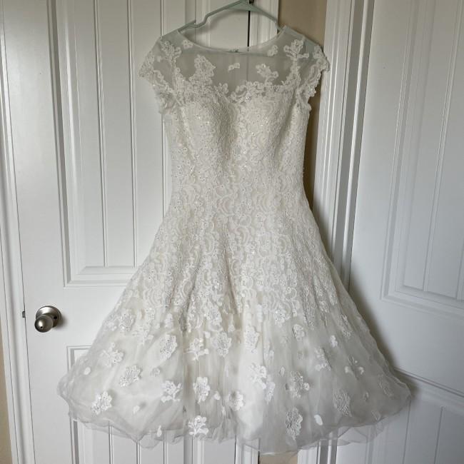 Oleg Cassini Cap sleeve illusion wedding dress