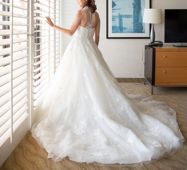 Vera Wang White by Vera Wang Illusion Floral Wedding Dress