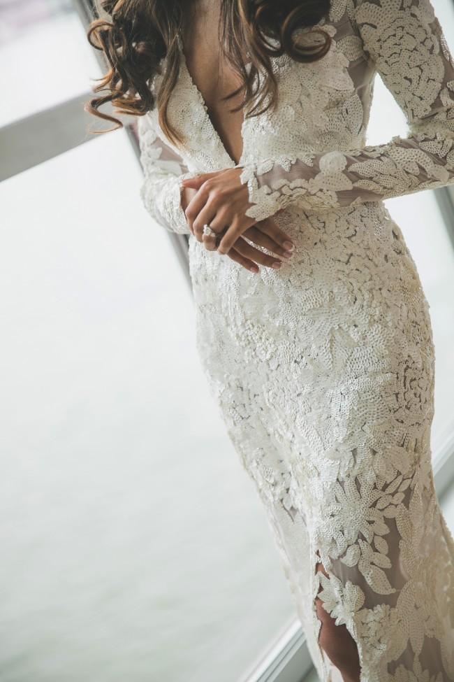 30548a7fbf Ae lkemi Deep plunge sequin Second Hand Wedding Dress on Sale 65% Off -  Stillwhite Australia