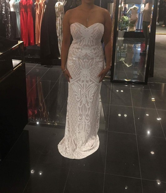 a17178ccf1a Bariano Olivia Strapless Sequin Gown White Nude New Wedding Dress on ...