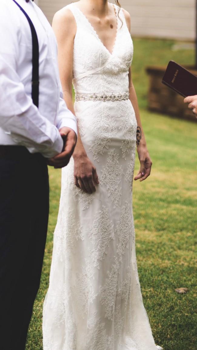 Galina Flower Lace V Neck Wedding Dress