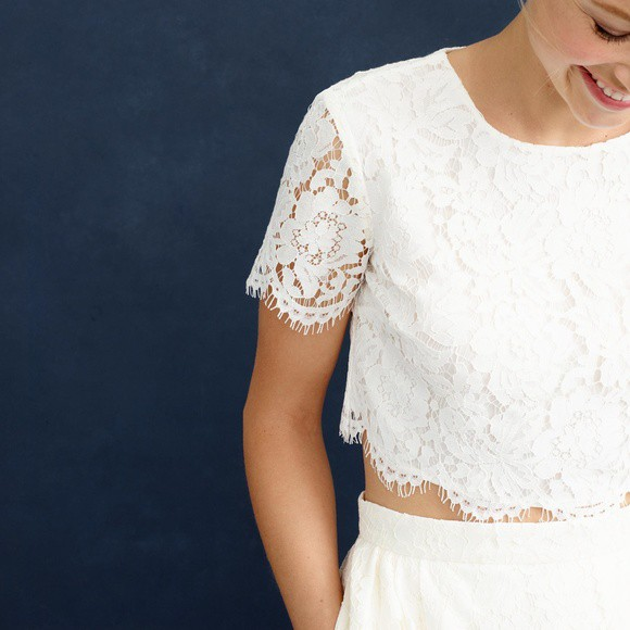 J Crew Collection Floral Lace Cropped Top