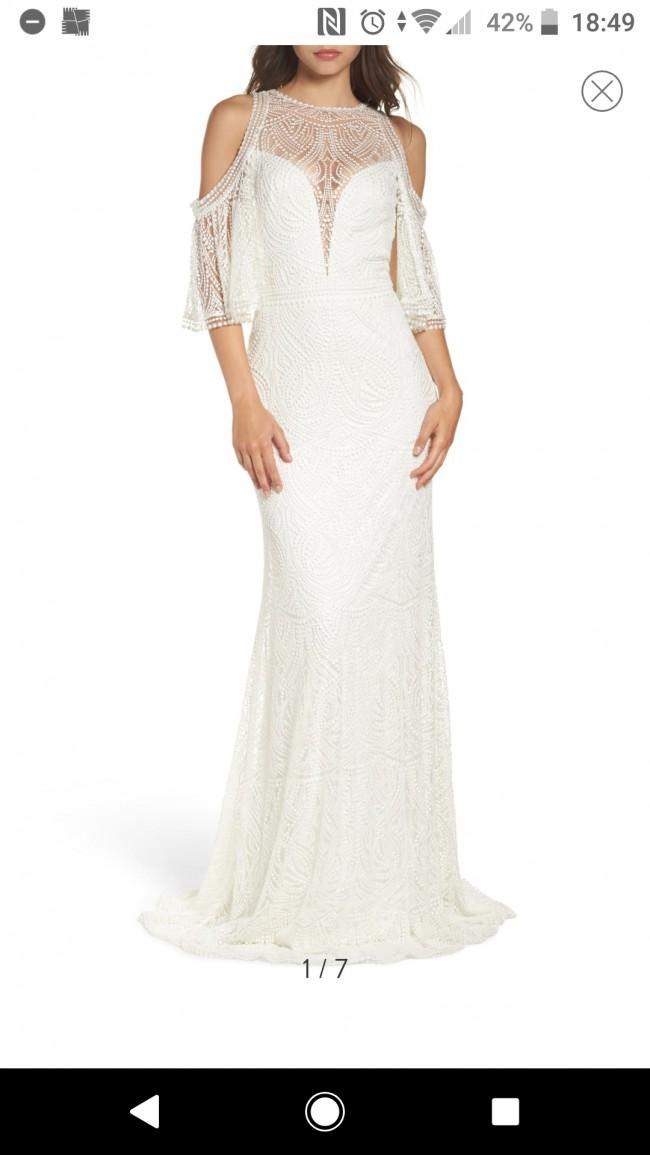 Tadashi Shoji Luz Embroidered Cold Shoulder Sheath Wedding Dress