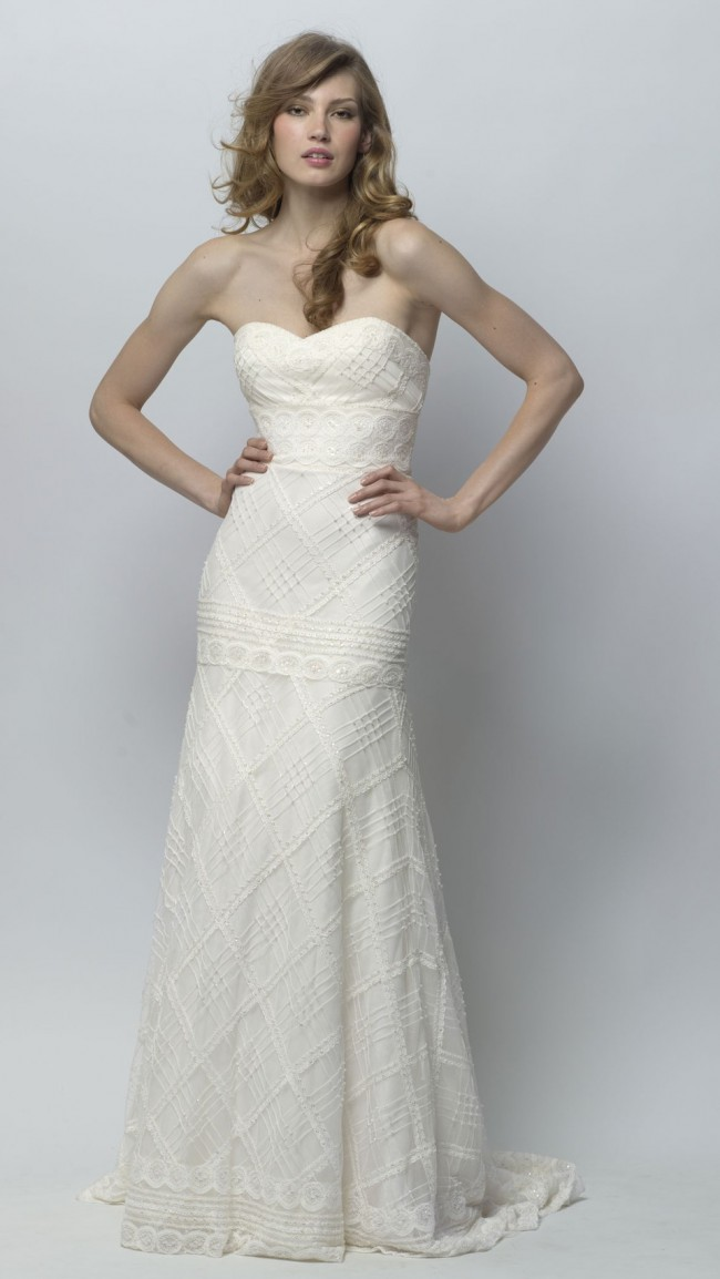 Wtoo Ivory Beaded Circle Lace Emerson Gown 18320