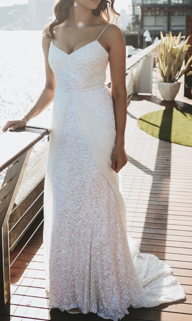 Karen Willis Holmes, Brand New Never Worn Lottie Gown and Used overlay