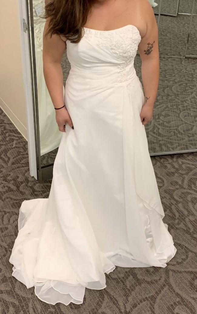 David's Bridal Chiffon A-line V9409
