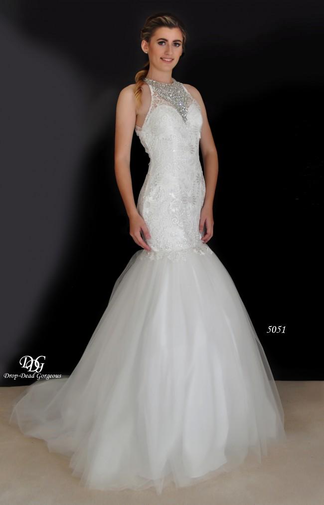 Drop Dead Gorgeous Halter Beaded Illusion Neckline Lace Wedding Dress