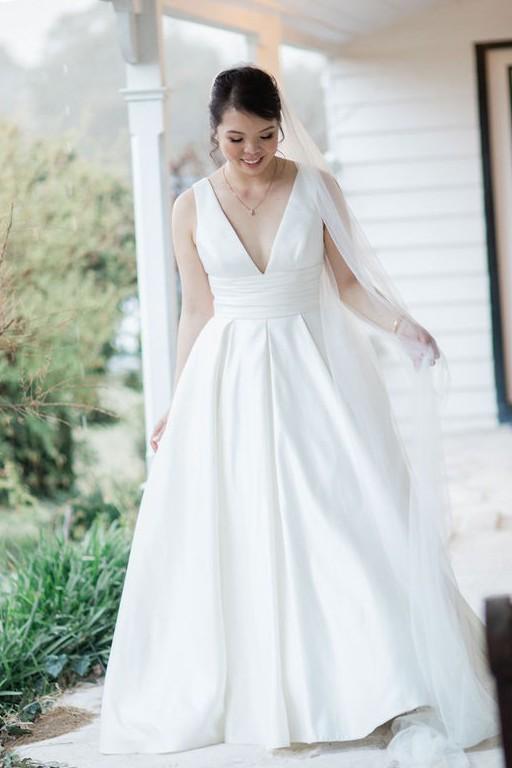 Oleg Cassini Satin Cummerbund Ball Gown Wedding Dress