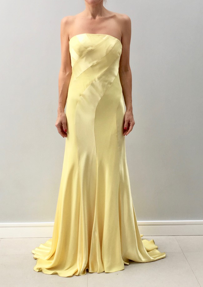 Sharon Cunningham Lemon bias cut swirl dress.