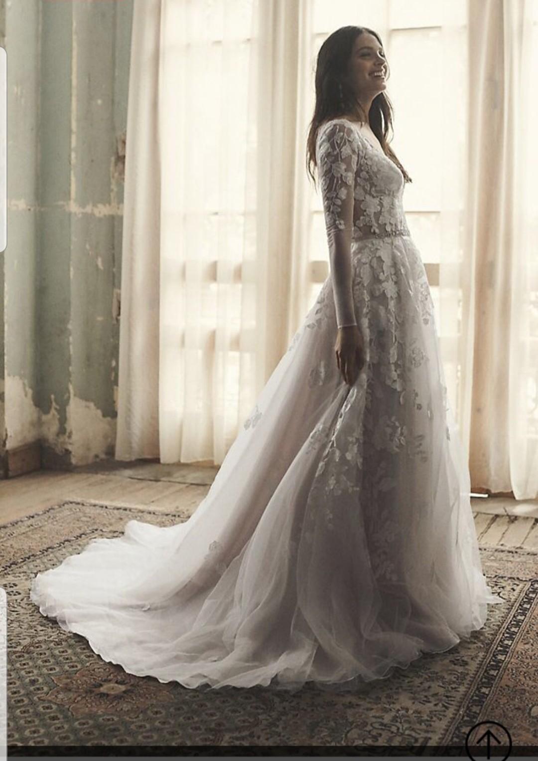 embroidered floral illusion bodysuit wedding dress galina signature