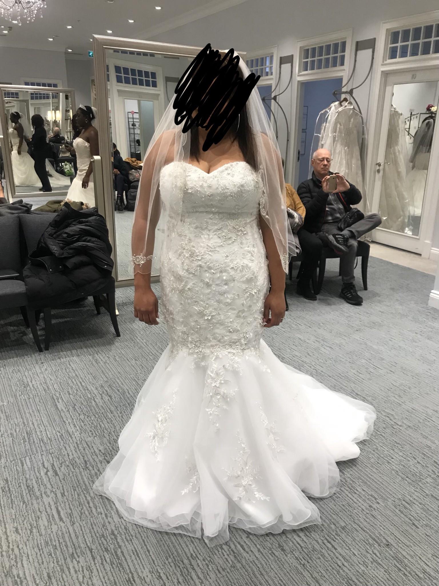 David S Bridal Metalic Beaded Lace Trumpet Wedding Dress Wedding Dress On Sale 72 Off
