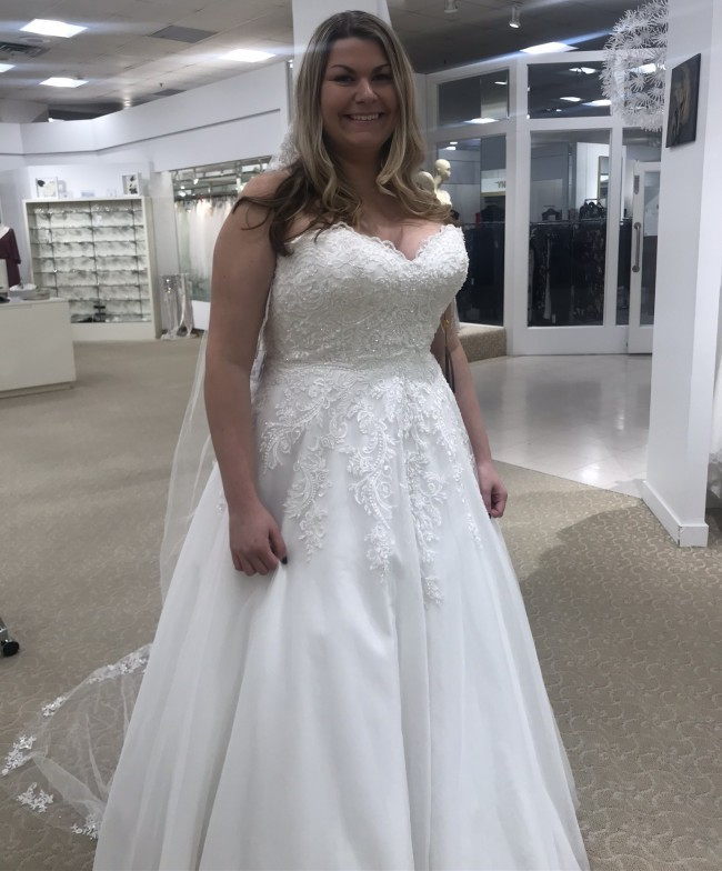Demetrios 734 with custom removable cap sleeves