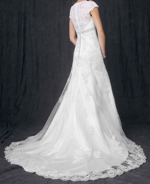 Davids Bridal Davids Bridal Cap Sleeve Lace Over Satin Gown Wit Wedding Dress On Sale 82 Off