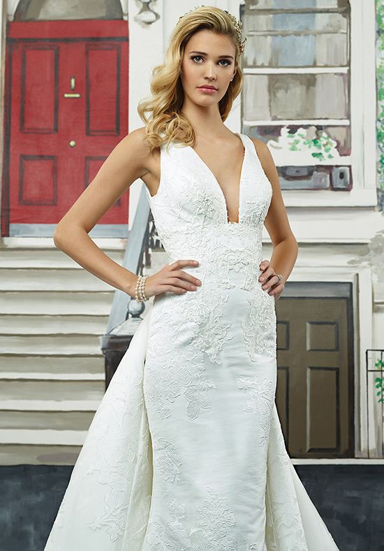 Justin Alexander Style 8947 Jacquard Gown w/ Square V-Neck & Train
