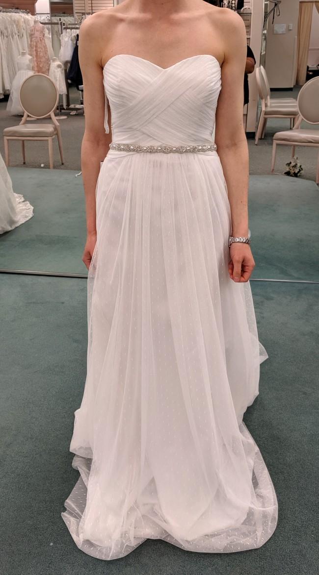 David's Bridal Galina Swiss Dot Tulle Empire Waist Soft Wedding G