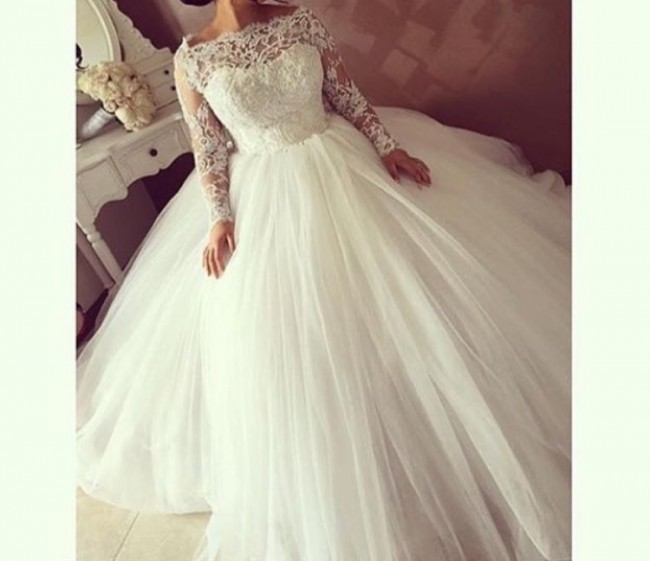 Personalised Weddings Couture Long sleeve French lace princess gown