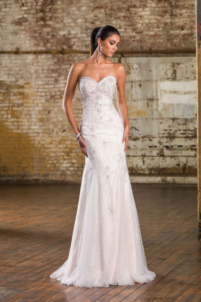 Justin Alexander Chantilly Lace and Beadwork Fit and Flare Gown STY