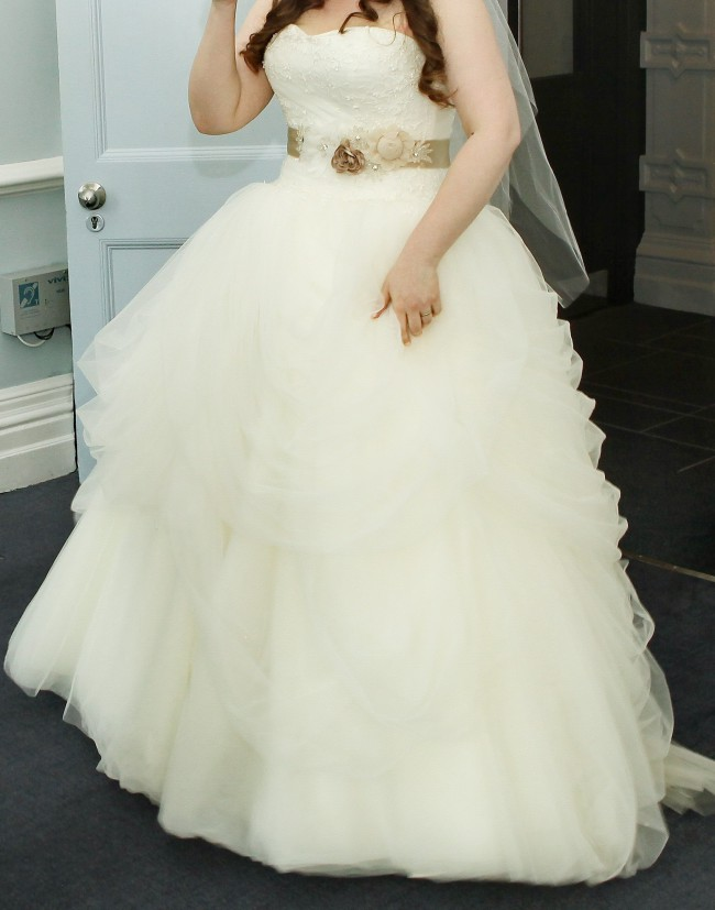 0007e7d66f1a9 Vera Wang White by Vera Wang Tossed Tulle Dress (VW351077) Used ...
