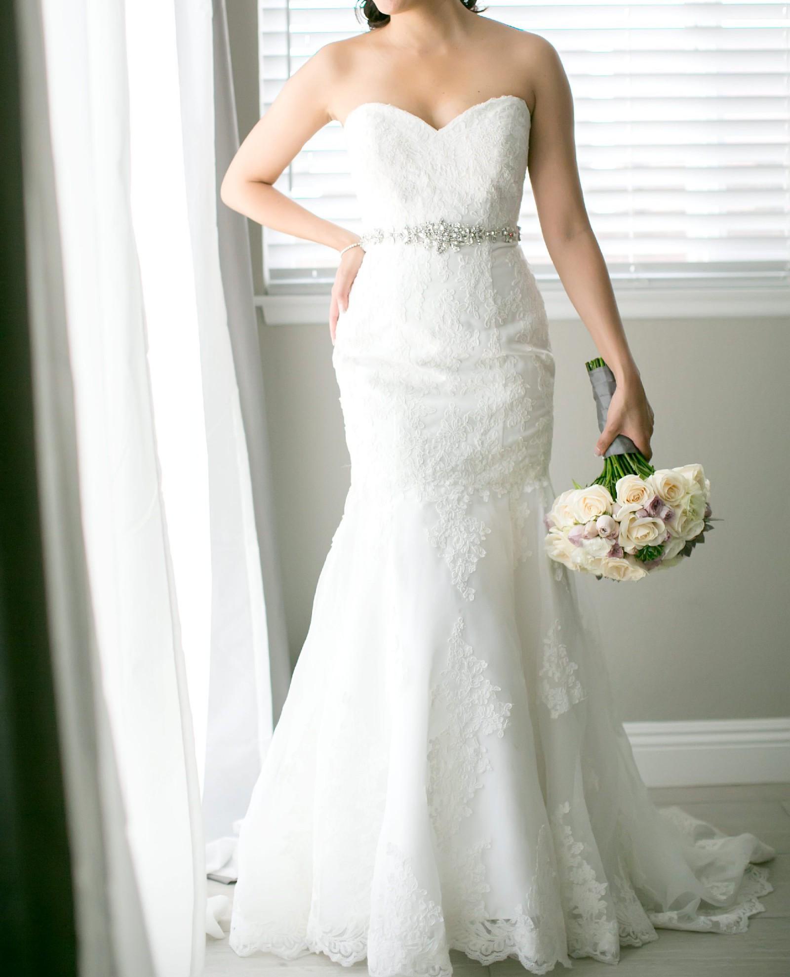 David S Bridal V3680 Sweetheart Trumpet Mermaid Strapless Lace We Preowned Wedding Dress Save 71 Stillwhite