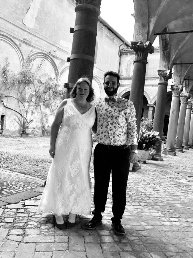 Galina Flower Lace V-Neck Wedding Dress with Empire Waist