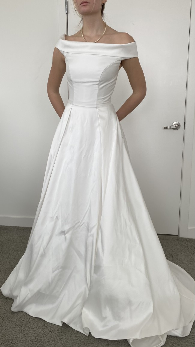 Justin Alexander Sweetheart Clean Mikado A-line Gown with Cuff Neck