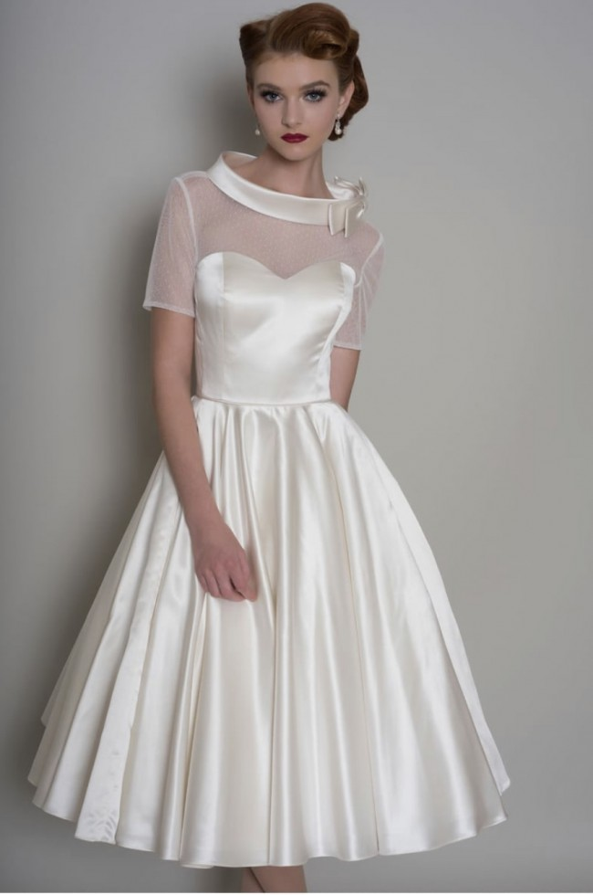 "Loulou Bridal ""Hattie"" Tea Length Satin 1950s Short Wedding Dres"