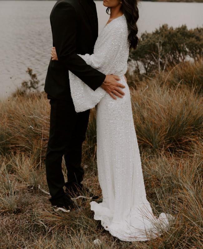 ASOS Bridal Ciara sequin kimono white wedding dress
