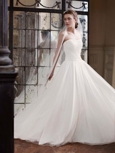 David's Bridal Collection, Ruched bodice Tulle Ball Gown