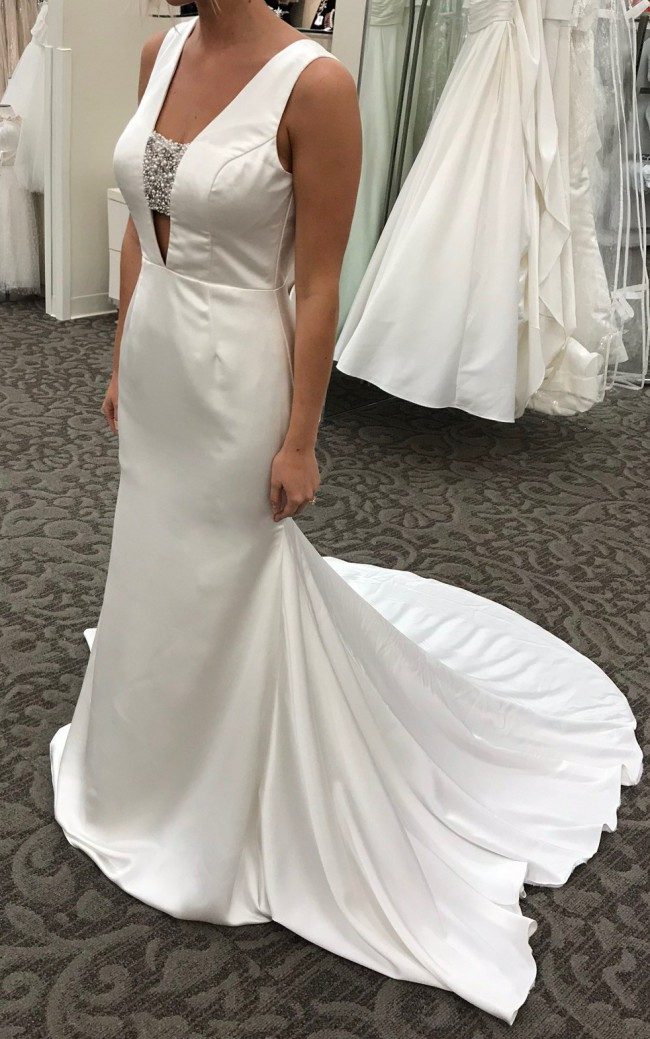 Vera Wang, Crepe-Back Satin Gown with Encrusted Bandeau