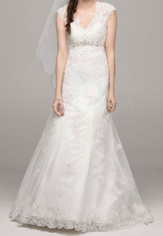 David's Bridal David's Bridal Cap Sleeve Lace Over Satin Gown Wit Used Wedding Dress on Sale 65% Off - Stillwhite