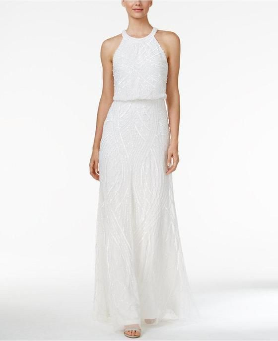 Adrianna Papell, Halter Beaded Mermaid Sheath Gown