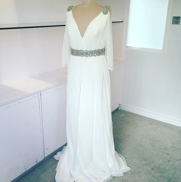 grecian wedding dress with sleeves