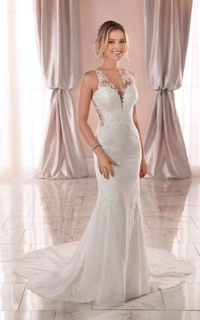 Stella York, 6916 Modern Crepe Dress with Scalloped Train