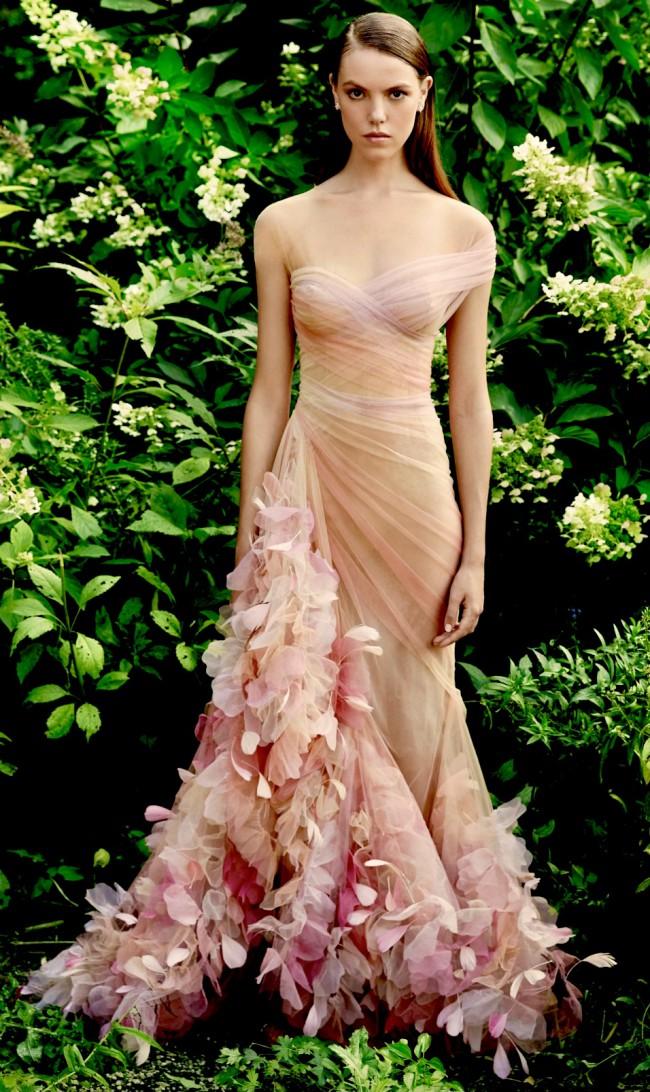 Marchesa Feather Embellished Chiffon Dress