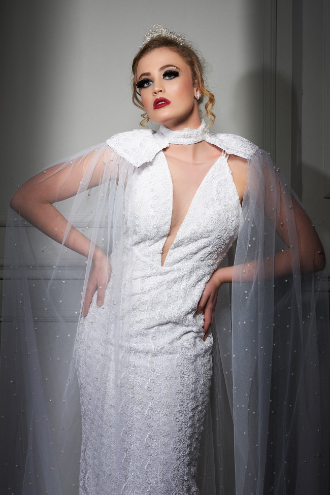 Maison Estrella Italian lace wedding dress with Pearls & SILK tull