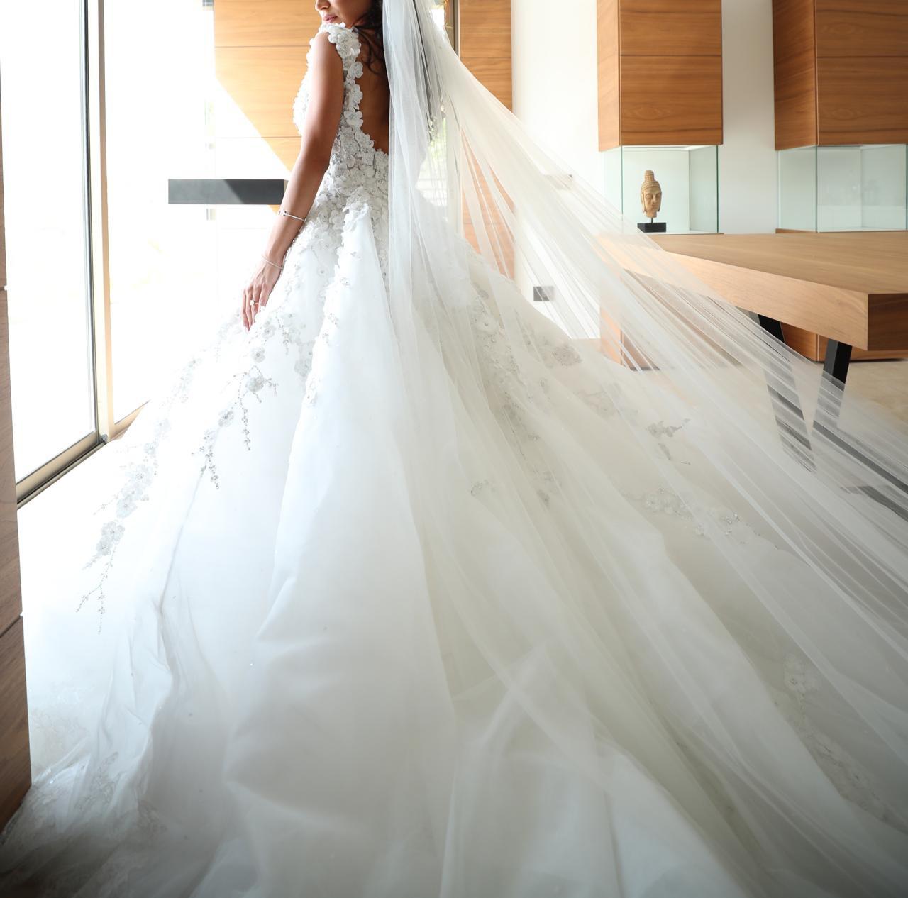 michael cinco custom made wedding dress on sale - 68% off