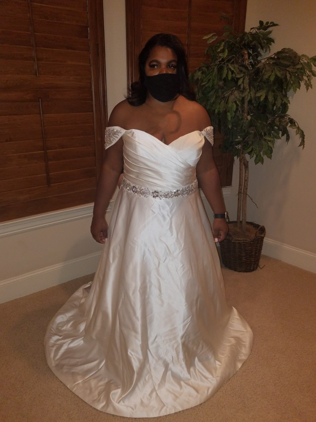 A-Line Off the shoulder Plus Size Wedding Gown