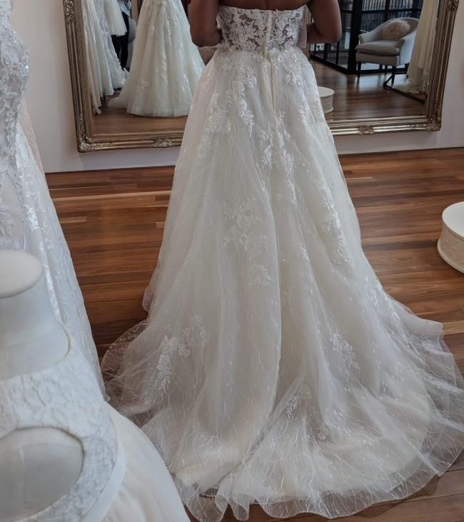 Oleg Cassini Strapless A-line wedding dress with 3D applique