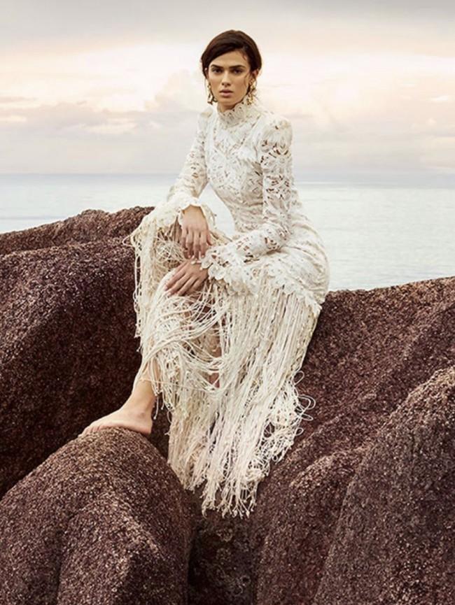 Zimmermann Wavelength fringed shell maxi gown