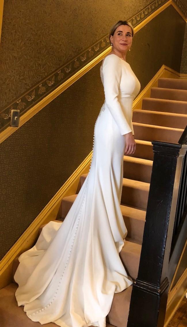 4e104c3dd282 Justin Alexander 8936 Crepe Long Sleeve Wedding Dress with Beaded I ...