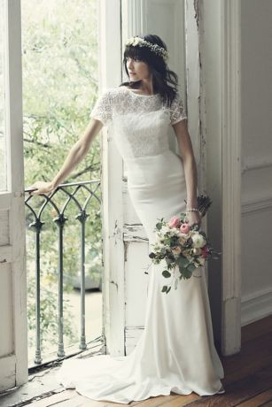 Galina, Geometric Lace and Crepe Cap Sleeve WG3927