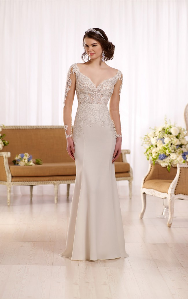 Essense of Australia,  Mila D2124- Illusion Lace Hollywood Inspired Gown