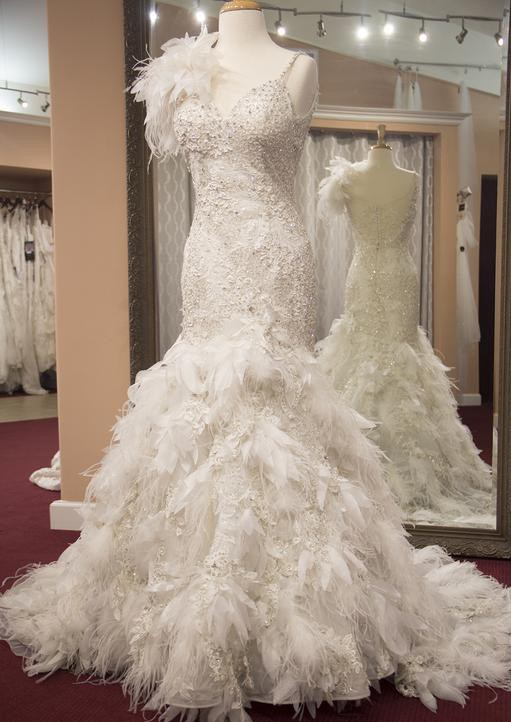 Stephen Yearick Breathtaking Feather Gown